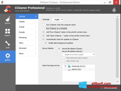 Screenshot CCleaner Windows 8